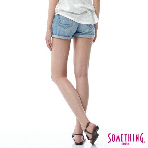 【週年慶。8折優惠↘】SOMETHING NEO FIT鋸齒壓線牛仔短褲 -女款 漂淺藍 1