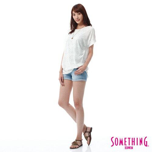 【週年慶。8折優惠↘】SOMETHING NEO FIT鋸齒壓線牛仔短褲 -女款 漂淺藍 2