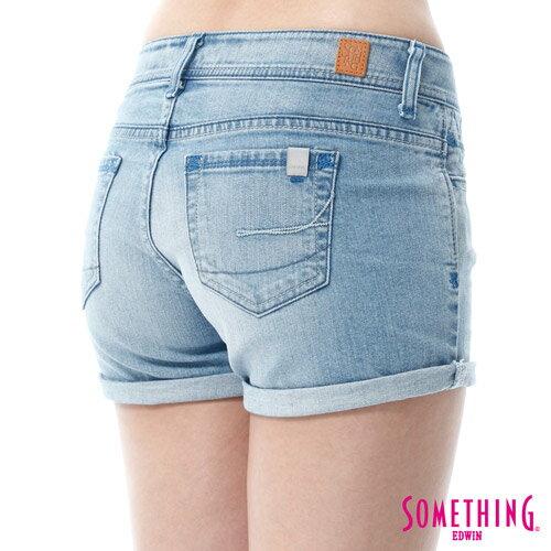 【週年慶。8折優惠↘】SOMETHING NEO FIT鋸齒壓線牛仔短褲 -女款 漂淺藍 4