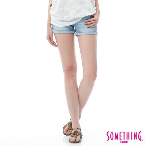 【週年慶。8折優惠↘】SOMETHING NEO FIT鋸齒壓線牛仔短褲 -女款 漂淺藍 0