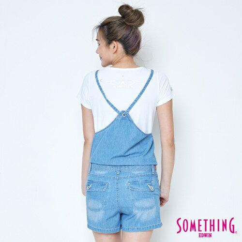 【9折優惠↘】SOMETHING  俏皮細帶 吊帶短褲 -女款 漂淺藍 1