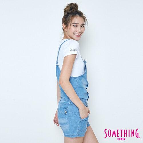 【9折優惠↘】SOMETHING  俏皮細帶 吊帶短褲 -女款 漂淺藍 2