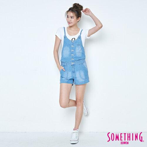 【9折優惠↘】SOMETHING  俏皮細帶 吊帶短褲 -女款 漂淺藍 4