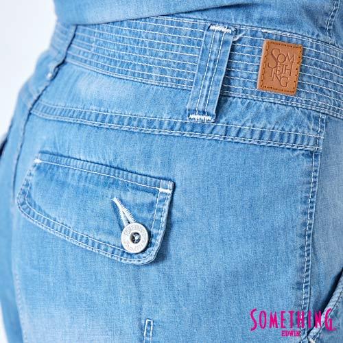 【9折優惠↘】SOMETHING  俏皮細帶 吊帶短褲 -女款 漂淺藍 6