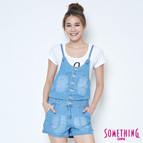 【9折優惠↘】SOMETHING  俏皮細帶 吊帶短褲 -女款 漂淺藍 0