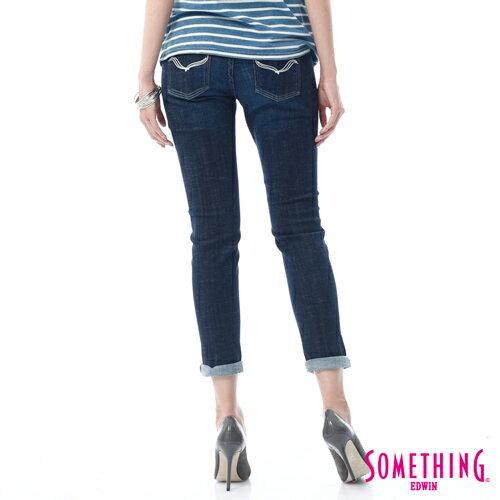 【週年慶。8折優惠↘】SOMETHING CELEB經典五袋式 八分牛仔褲 -女款 原藍磨 1