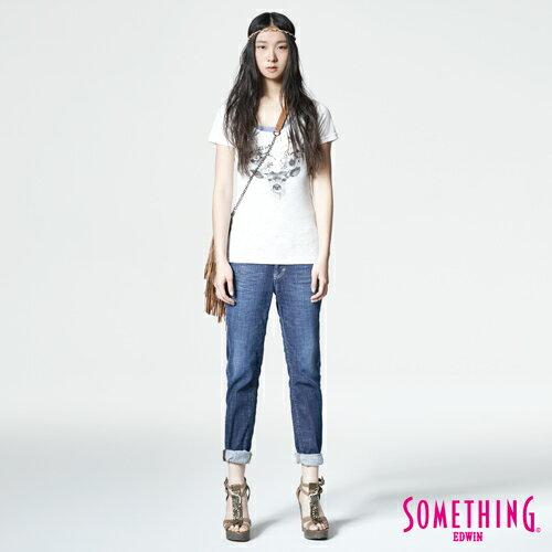 【週年慶。8折優惠↘】SOMETHING CELEB經典五袋式 八分牛仔褲 -女款 原藍磨 3