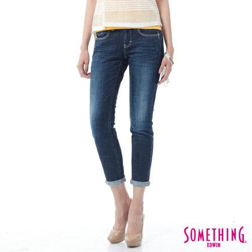 【週年慶。8折優惠↘】SOMETHING CELEB經典五袋式 八分牛仔褲 -女款 原藍磨 0