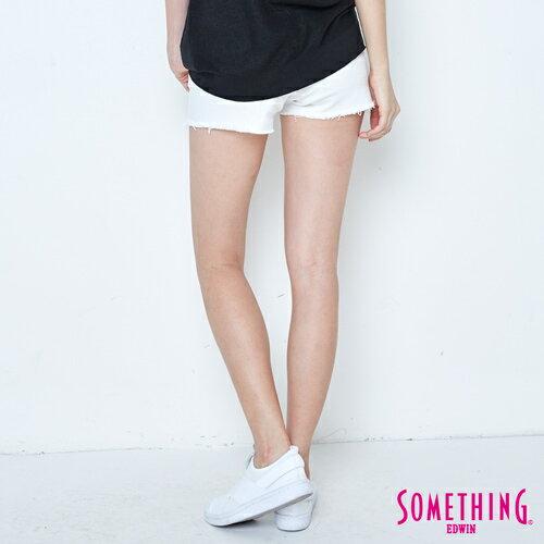 【週年慶。8折優惠↘】SOMETHING 玫瑰繡花 牛仔短褲-女款 白色 1