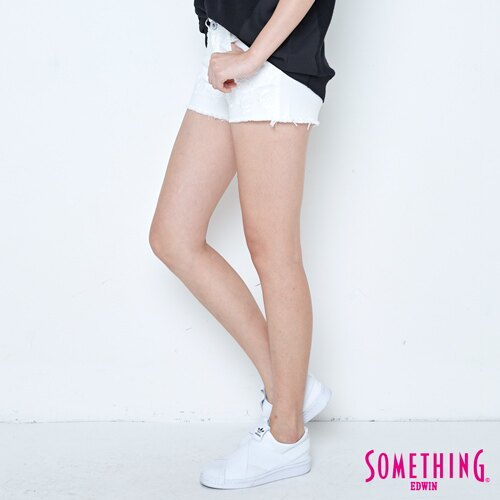 【週年慶。8折優惠↘】SOMETHING 玫瑰繡花 牛仔短褲-女款 白色 2