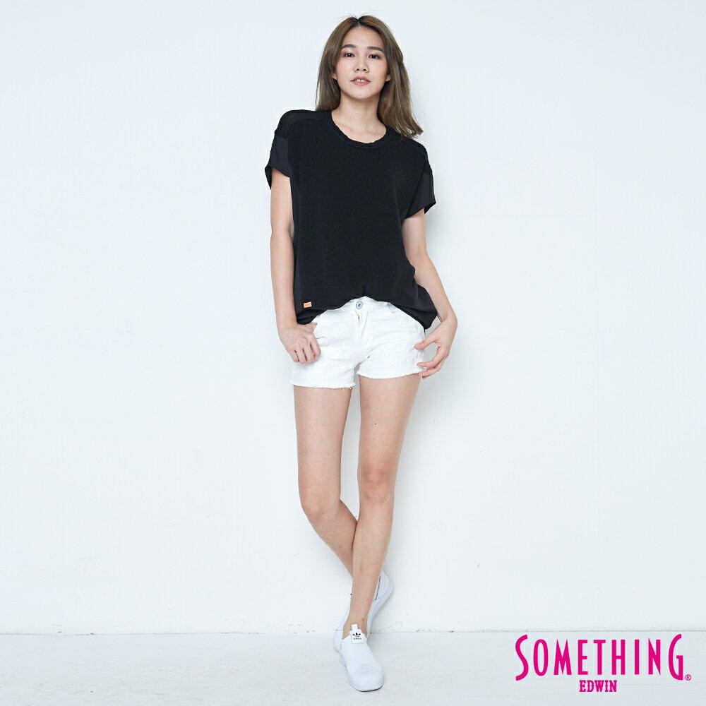 【週年慶。8折優惠↘】SOMETHING 玫瑰繡花 牛仔短褲-女款 白色 3