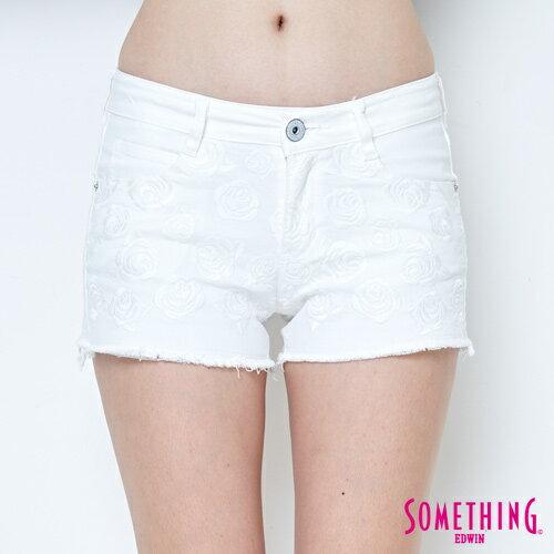 【週年慶。8折優惠↘】SOMETHING 玫瑰繡花 牛仔短褲-女款 白色 4