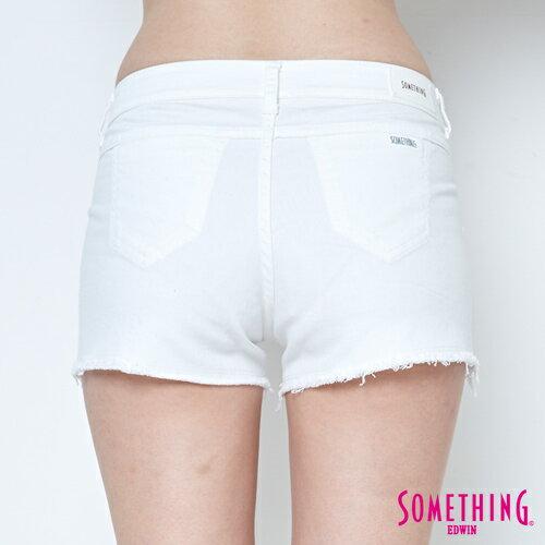 【週年慶。8折優惠↘】SOMETHING 玫瑰繡花 牛仔短褲-女款 白色 5