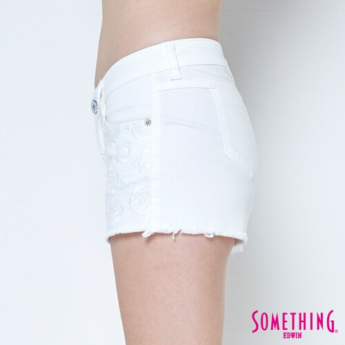 【週年慶。8折優惠↘】SOMETHING 玫瑰繡花 牛仔短褲-女款 白色 6