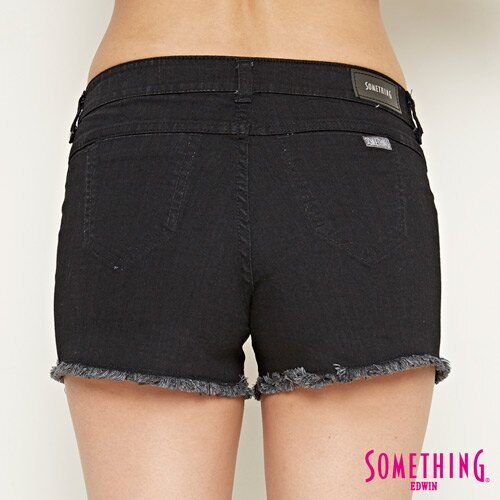 【週年慶。8折優惠↘】SOMETHING 玫瑰繡花 牛仔短褲-女款 黑色 5