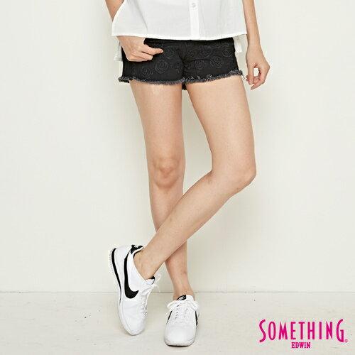 【週年慶。8折優惠↘】SOMETHING 玫瑰繡花 牛仔短褲-女款 黑色 0
