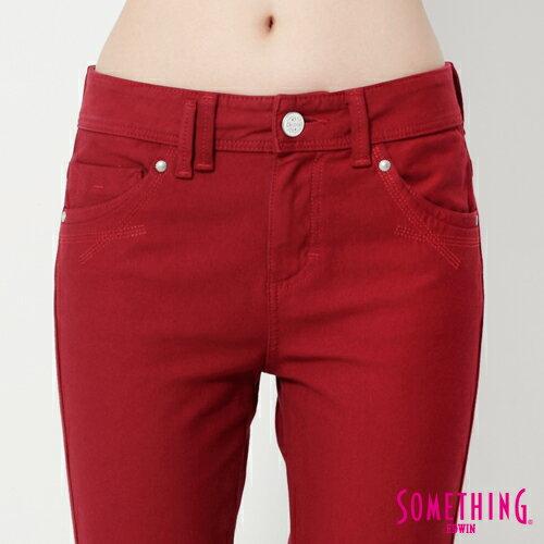 【5折優惠↘】SOMETHING MEIDUSA鬆緊修身 高腰牛仔褲 -女款 紅色 3