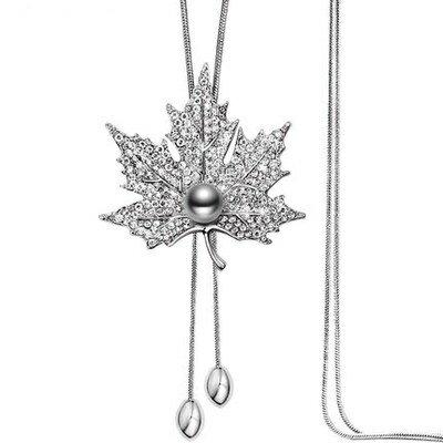 鑲鑽項鍊毛衣鍊~精緻典雅花朵 女飾品3色73fv15~ ~~米蘭 ~ ~  好康折扣