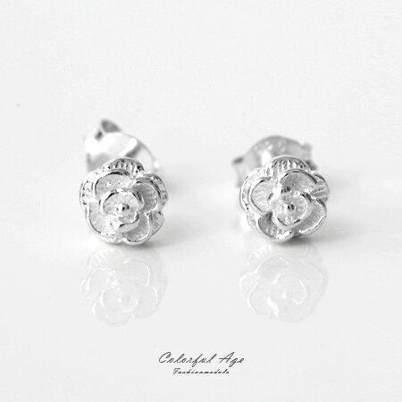 925純銀貼耳式耳針耳環 玫瑰花朵層次分明 抗過敏抗氧化 精緻雕花 柒彩年代【NPD26】一對價格 0