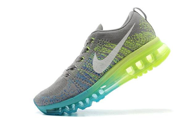 Nike air max 全掌彩虹氣墊編織 女生運動休閒鞋 慢跑鞋 炭灰綠 女鞋