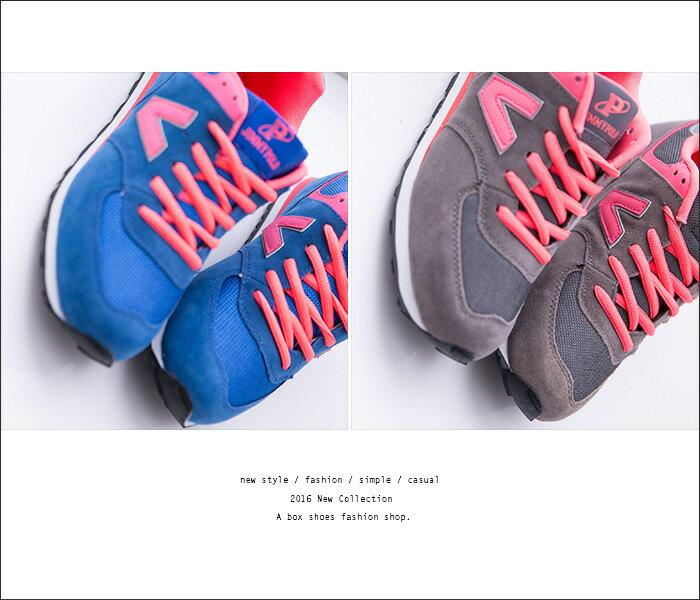 格子舖*【AJ68021】韓國街頭流行 經典熱銷舒適 撞色V字帆布繫帶休閒運動鞋 慢跑鞋 3色 1