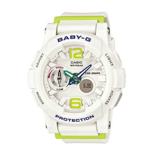 CASIO BABY-G BGA-180-7B2衝浪滑板雙顯流行腕錶/白面44mm