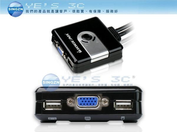 「YEs 3C」IOGEAR GCS42UW6 2埠 輕巧型USB VGA KVM多電腦切換器 內建連接線 隨插即用 免運 7ne yes3c