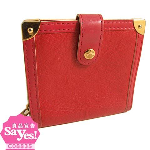 【奢華時尚LV M91882 紅色山羊皮對摺拉鍊中夾(八成新)  #18385