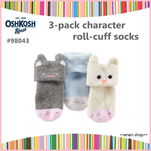 Enen Shop @OshKosh B'gosh 可愛貓咪/點點款嬰兒襪三件組 ∥ 0-3M 新生兒/彌月禮