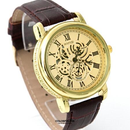 手錶 金色仿機械錶面板雕紋外框皮革腕錶 羅馬數字設計 極推優質錶款 柒彩年代【NE1852】單支售價 0