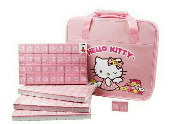 【真愛日本】15121800002 帆布手提袋麻將-粉 KITTY 凱蒂貓 三麗鷗 麻將 麻雀 休閒 益智遊戲