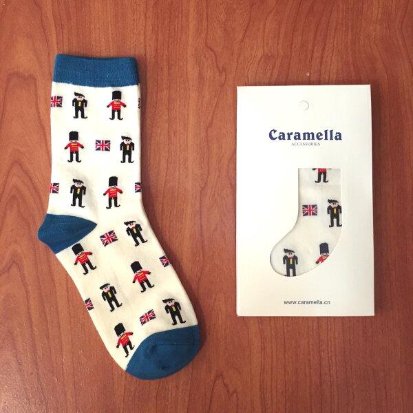 【開幕促銷】Caramella 小士兵-藍色 中筒襪 短襪 船襪 隱形襪 五指襪 文青情侶 運動穿搭 阿華有事嗎 C0008-1