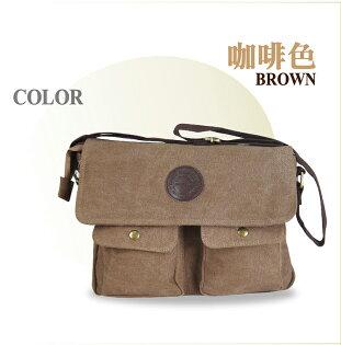 熊熊先生》韓版極簡風格 三款任選 質感休閒帆布包(中型) 耐磨厚布材質 雙口袋斜背包