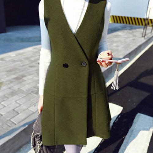外套 - 排釦交疊剪裁磨毛背心式洋裝無袖外套【29166】藍色巴黎 《2色》 現貨+預購 2