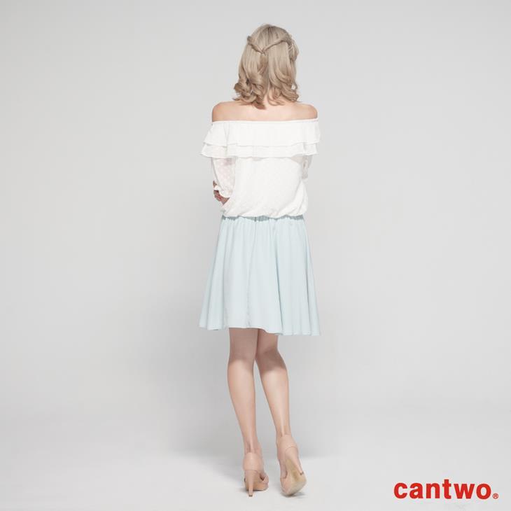 cantwo粉彩荷葉雪紡洋裝(共二色) 3