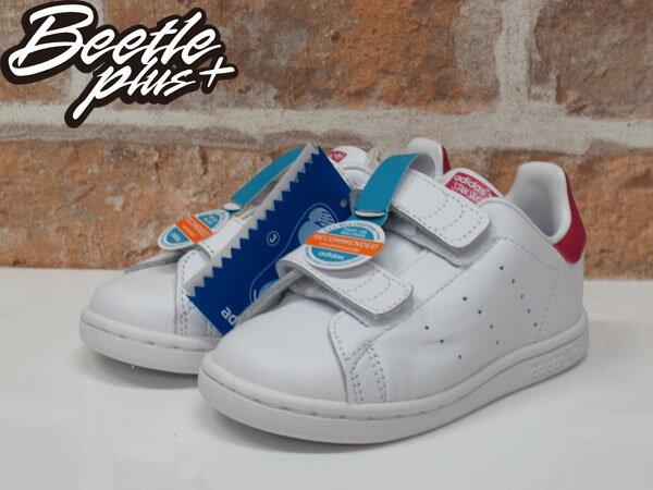 童鞋 BEETLE ADIDAS ORIGINALS STAN SMITH CF I 白 童紅 魔鬼氈 B32704 1