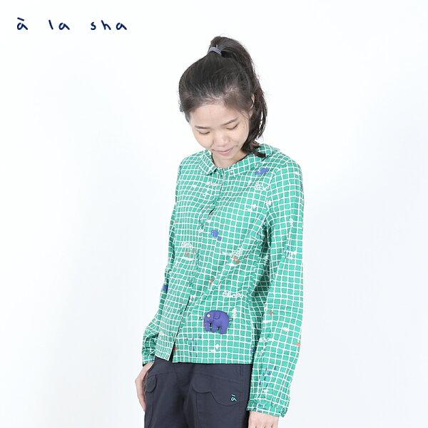 a la sha 格紋與大象印花長袖襯衫(附大象別針)