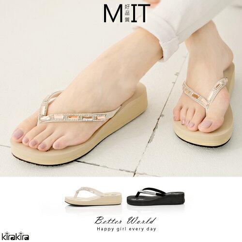 楔型拖鞋  SALE 華麗水晶貼鑽夾腳楔型拖鞋