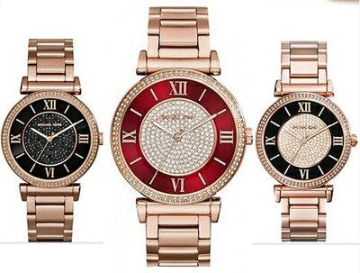美國Outlet正品代購 MichaelKors MK 復古羅馬滿天星貝殼面鑲鑽紅玫瑰金    手錶 腕錶 MK3377