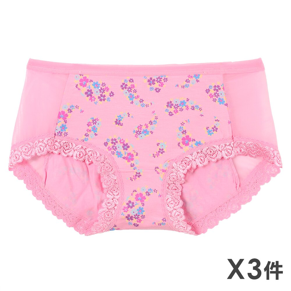 3件199免運【AJM】莫代爾纖維 網布玫瑰車邊三角褲3件組(隨機色) 0