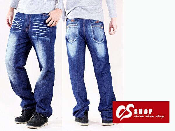 CS衣舖 加大尺碼 高彈力 造型刷白 丹寧 中直筒牛仔褲 7223 0