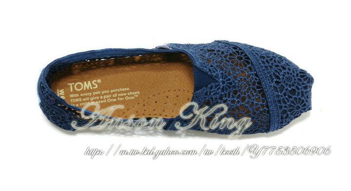 [女款] 國外代購TOMS 帆布鞋/懶人鞋/休閒鞋/至尊鞋 蕾絲系列  深藍 2