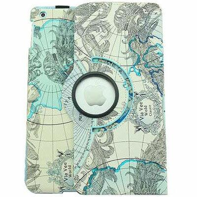 ★【STARMAKER】I PAD AIR~歐美風地圖塗鴉休眠360度支架保護皮套