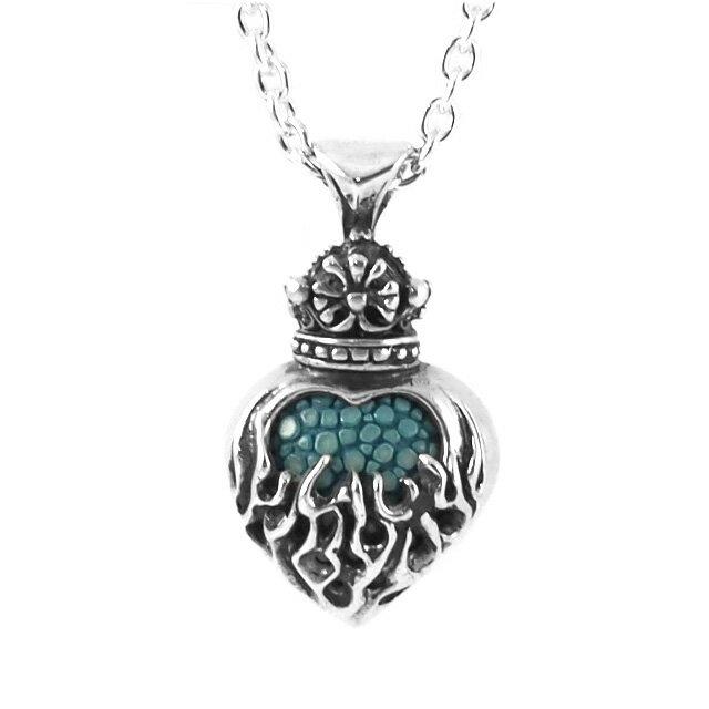 【海外訂購】【Leathers&Treasures】火焰之心皇冠純銀項鍊(迷你版) 50cm(JLTP062-Stingray2-Blue  0812610002) 3