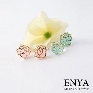 925銀 冰晶玫瑰耳環 Enya恩雅^(正韓飾品^)~EASS4~