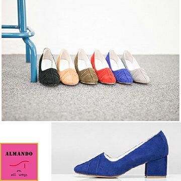 ALMANDO~SHOES~正韓麂皮葉紋低粗跟鞋~ 韓國空運 女性休閒鞋 包鞋