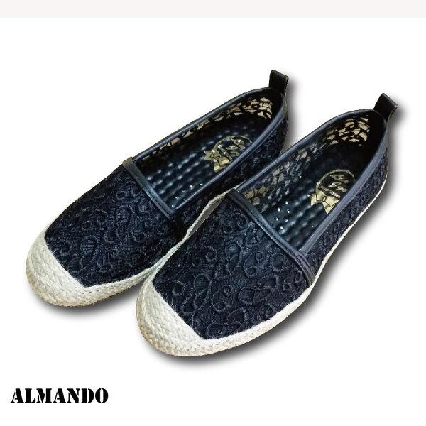 ALMANDO-SHOES★蕾絲麻底編織鞋★女性流行平底帆布鞋  丹寧/米