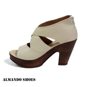 ALMANDO-SHOES★整件式皮革剪裁交叉厚底魚口高跟涼鞋★米 女性涼鞋特賣特價299