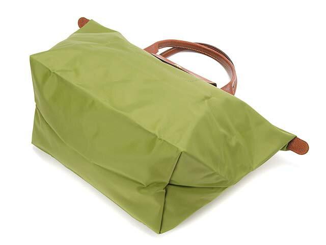 [1623-M號] 國外Outlet代購正品 法國巴黎 Longchamp 長柄 購物袋防水尼龍手提肩背水餃包草綠色 3