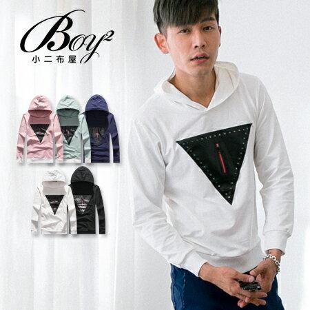 ☆BOY-2☆【NQ96025】美式幾何三角皮革拉鍊連帽T恤 0